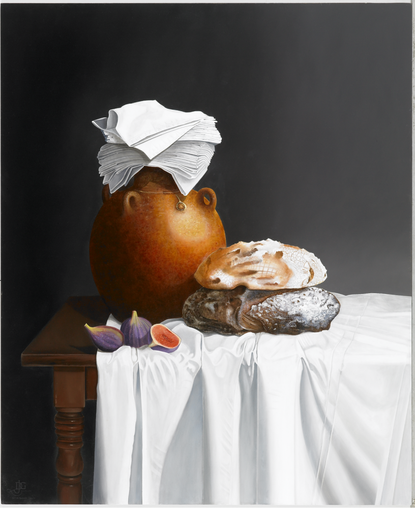 An Earthenware Jug, Bread and Figs