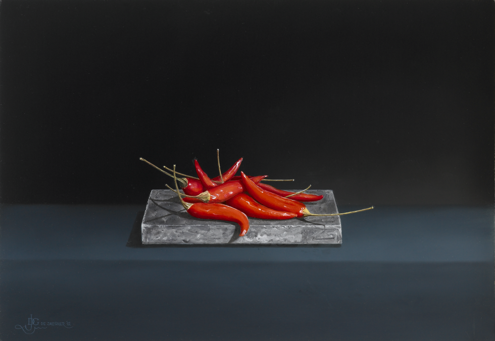 Red Peppers on a Belgian Blue Stone